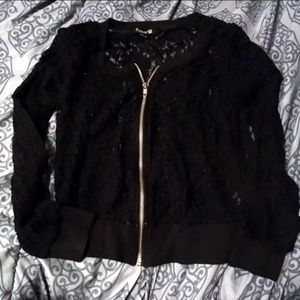 Forever 21 Black Lace Zip Up Jacket Cardigan